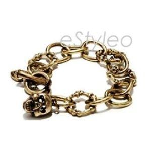 Betsey Johnson Toggle Bracelet Skull Bone Gold